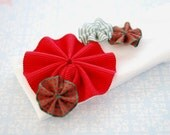 BELLA - Christmas Red and Green Ribbon Flowers on White Baby\/Toddler Headband
