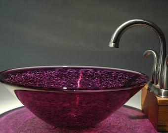 Violet Purple Hand Blown Glass Vessel Sink