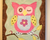 "baby nursery wall art..girl kid room decor..original canvas painting..painted artwork..11 x 14 bird tree branch life flower ""buddy the owl"""