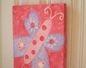 """girl kid room decor..baby nursery wall art..original canvas painting..hand painted artwork..11 x 14 butterfly pink purple """"penny"""""""