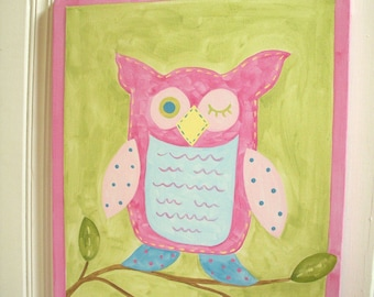 "girl kid room decor..baby nursery wall art..original canvas painting..hand painted artwork..11 x 14 owl pink green brooke ""oscar the owl"""