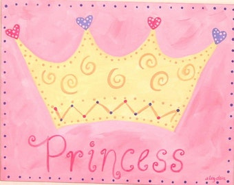 11 x 14 princess crown Personalized pink girl kid room decor Baby nursery wall art Original canvas painting Hand painted artwork Children