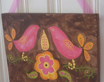 "11 x 14 ""love birds"" girl kid room decor Baby nursery wall art Original canvas painting Hand painted artwork Pink bird flower folk art gift"