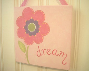"girl kid room decor..baby nursery wall art..original canvas painting..hand painted artwork..12 x 12 posy pink personalized ""dream flower"""
