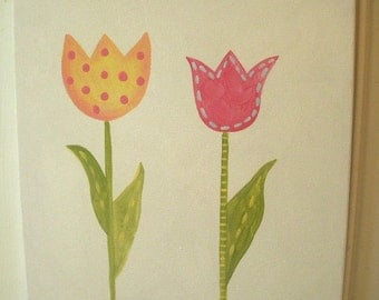 Tulip flowers girls canvas 11 x 14 painting Pink green yellow Kid room decor Baby nursery Children wall art Hand painted artwork stripe dots