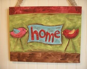 Home bird canvas painting 11 x 14 Original handmade Rustic artwork Home furnishing decor Red aqua green Rustic wall art Spring Whimsical Fun