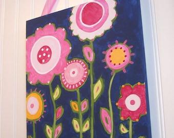 Flower garden canvas painting 11 x 14 Original handmade Girl room decor Pink navy preppy Baby shower nursery Children wall art Kid bedroom