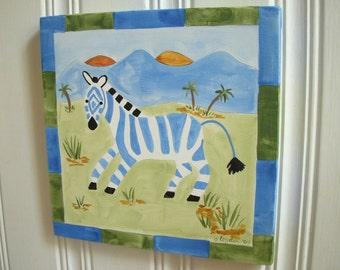 "zebra boy kid room decor..baby nursery wall art..original canvas painting..hand painted artwork..12 x 12 safari africa ""Zack the Zebra"""