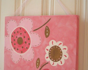 "girl kid room decor..baby nursery wall art..original canvas painting..hand painted artwork..11 x 14 flowers pink brown posy ""happy flowers"""