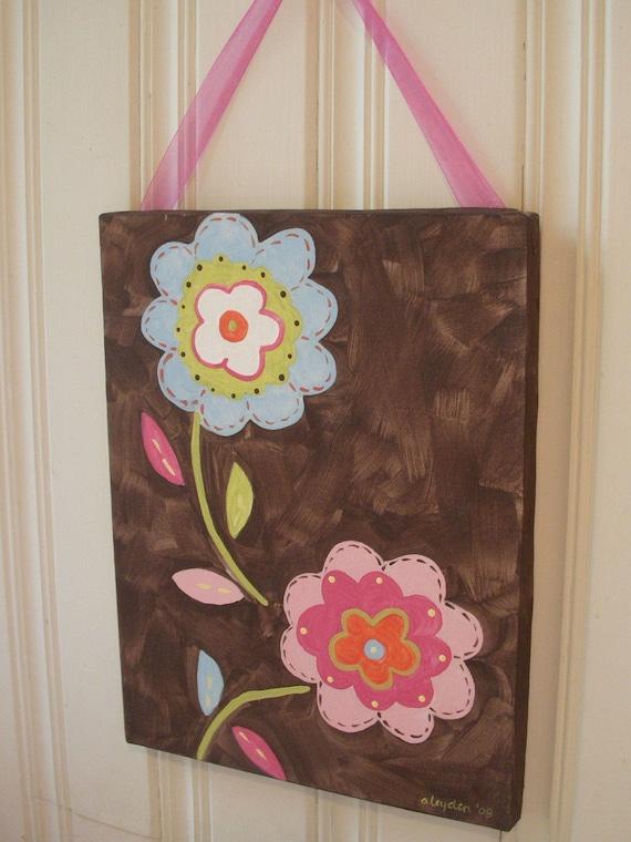 11 x 14 Original canvas painting Baby nursery wall art Girl kid room decor Painted artwork Flower floral brown pink aqua blue green shower
