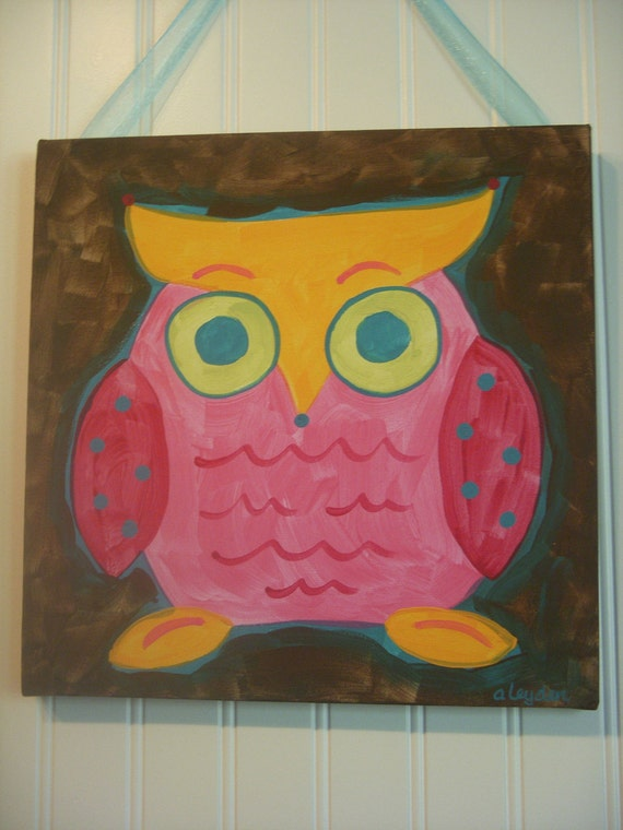 "girl kids room decor...baby nursery wall art...original canvas painting...hand painted artwork...12 x 12 pink brown owl ""jack the owl"""