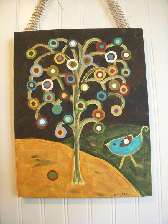 "Primitive Folk Art Tree of Life..Original Painting..Hand Painted Canvas..11 x 14 Wall Art..Black Turquoise Bird..""Rustic Tree of Life"""