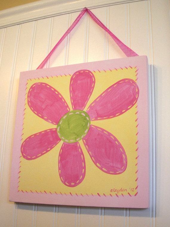 "girl kids room decor..baby nursery wall art..original canvas painting..painted artwork..12 x 12 flower pink green posy ""fuchsia daisy"""