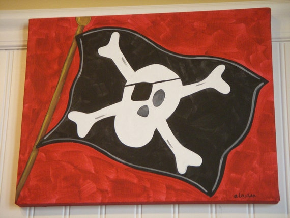 "boy room decor..baby nursery wall art..original canvas painting..painted artwork..11 x 14 red black pirate jolly roger ""ahoy there matey"""