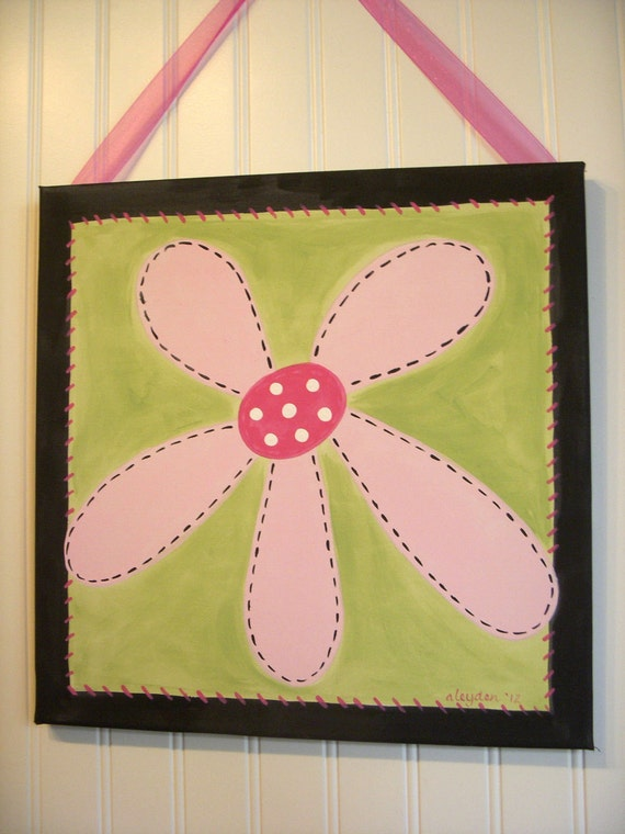 Flower canvas painting 12 x 12 Original hand painted Girl room decor Baby nursery Children wall art Kid bedroom Baby shower Pink green daisy