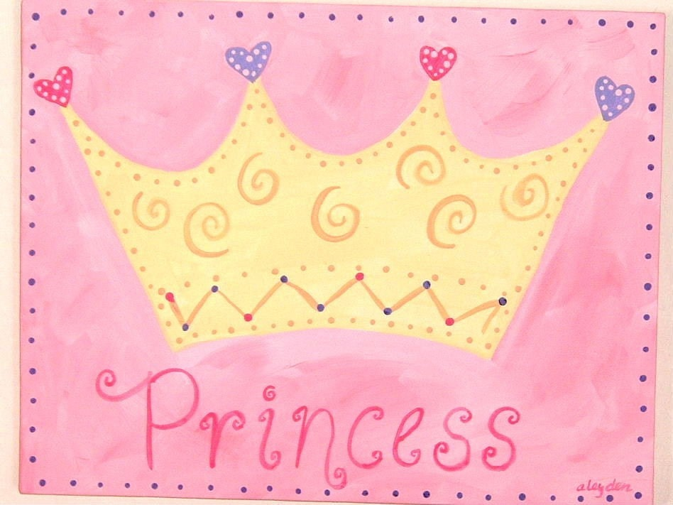 11 X 14 Princess Crown Personalized Pink Girl Kid Room Decor