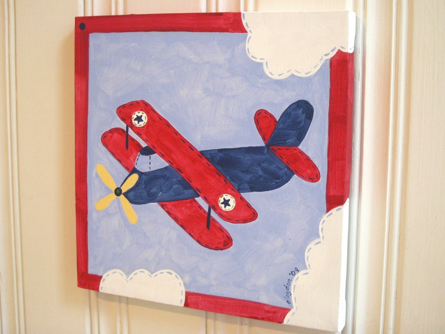 Boys Airplane Canvas Painting 12 X 12 Vintage Plane Biplane