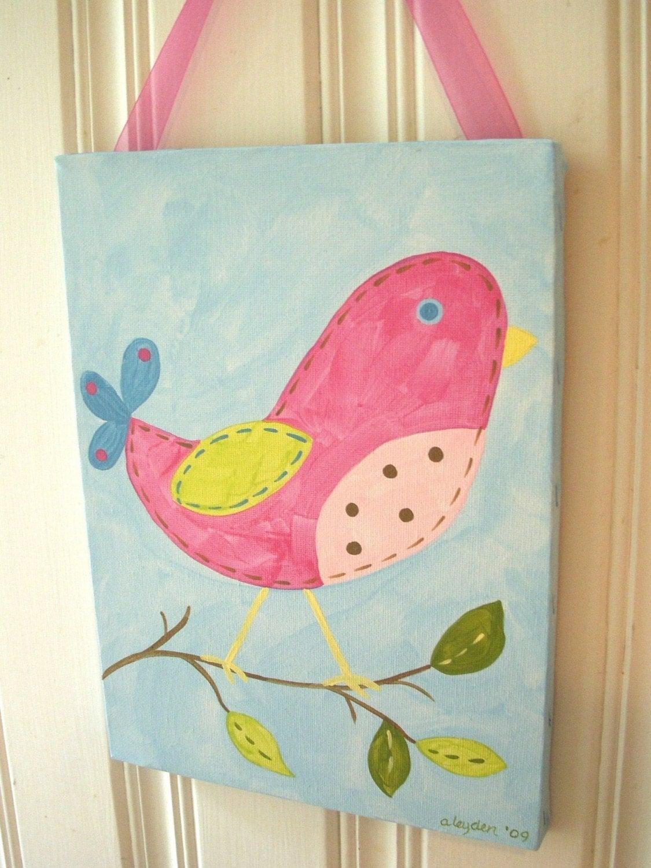 girl kid room decor baby nursery wall art original canvas. Black Bedroom Furniture Sets. Home Design Ideas
