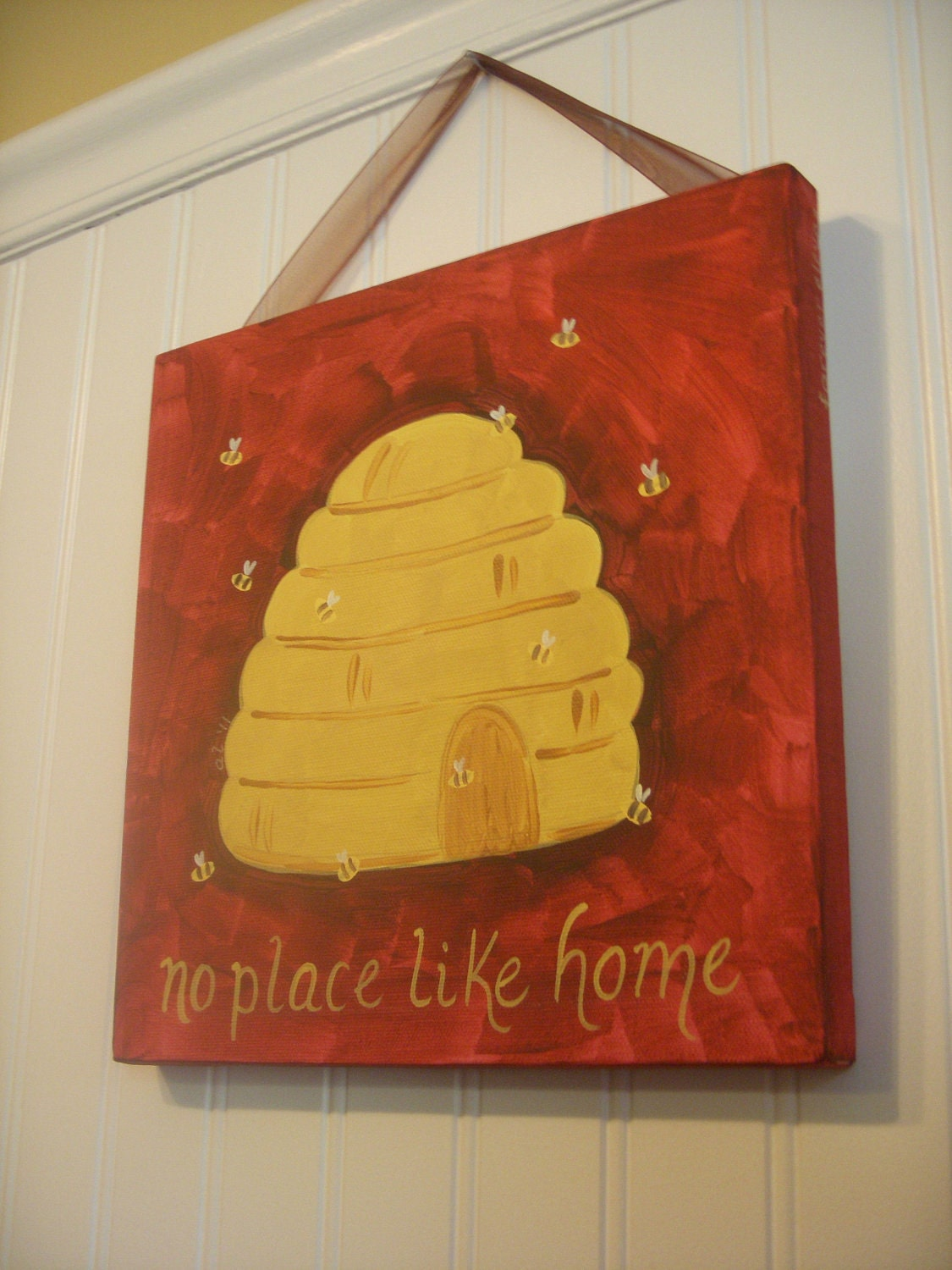 Bee Hive Original Canvas Painting No Place Like Home Hand