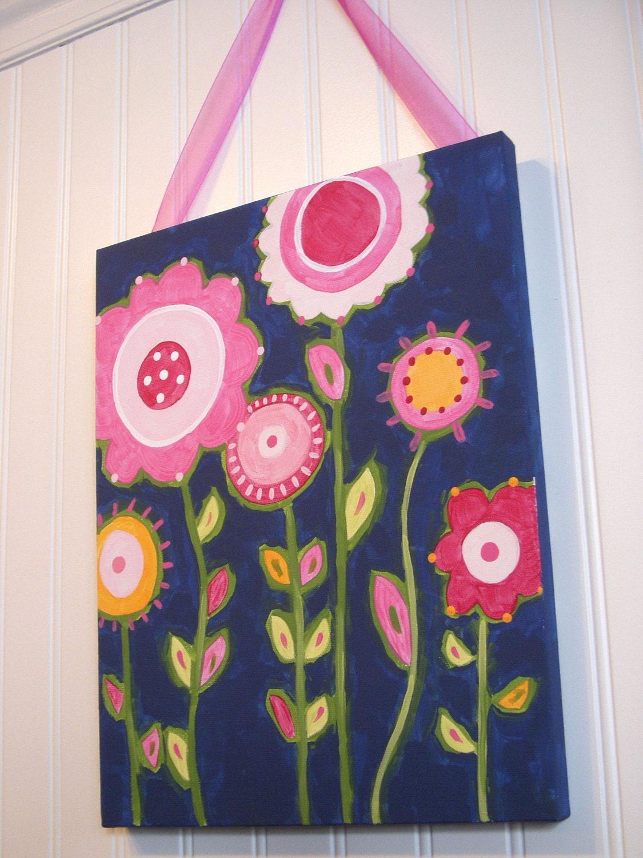 flower garden canvas painting 11 x 14 original handmade girl. Black Bedroom Furniture Sets. Home Design Ideas
