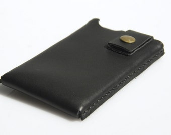 iPhone / iPod Touch / Smartphone Case -Leather - Hand Stitched - Black - FREE SHIPPING