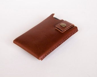 iPhone / iPod Touch / Smartphone Case - Leather- Hand Stitched - Brown - FREE SHIPPING