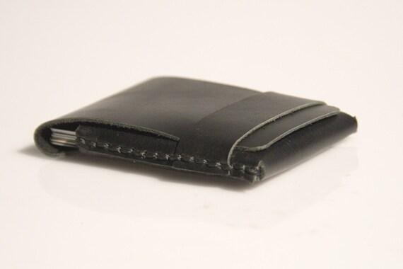 Hand Stitched Leather Wallet / Cardholder - Black