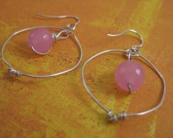 SALE Cotton Candy Jade Sterling Silver Hoop Earrings