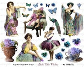 bOho ChiC ViOLetS - colorful ladies - Digital Collage Sheet (no 400)