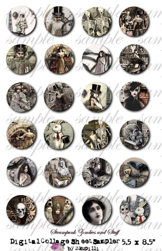 StEaMpUnK zOmBiEs  aNd StUff - 1 inch circle sampler - Digital Collage Sheet (no 160)