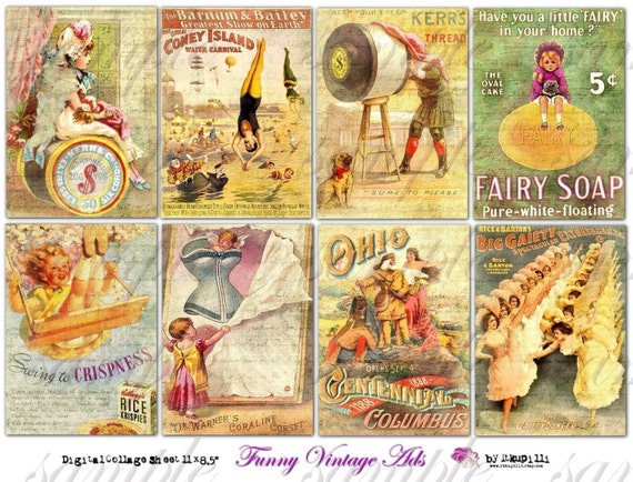 Digital Collage Sheet Funny Vintage Ads. no.023