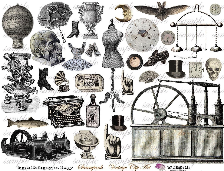 StEaMpUnK ViNtAgE cLiP aRt Digital Collage Sheet no 135