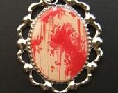 MASSACRE Pop Horror Silver Blood Splatter Necklace 21 x 30 mm Red Tan