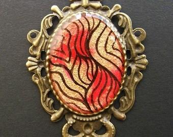 AMBROSIA Bronze Filigree Necklace 38 x 50 mm Red Gold Black