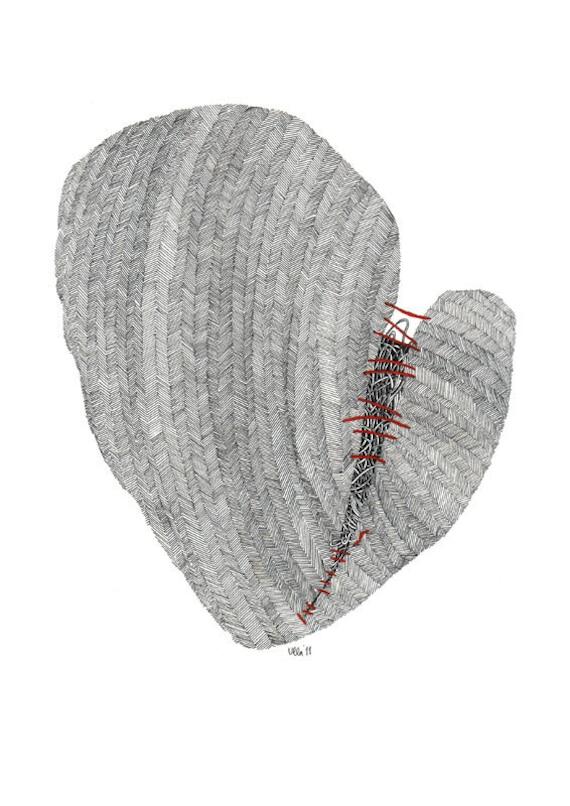 Tweed heart, a digital print of original drawing