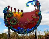 Fused Glass Sculpture Purple Cosmic Dreamboat