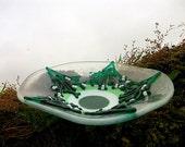 Mistletoe Bowl Christmas Yule Glass
