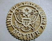 Wooden United States Army mother wall hanging