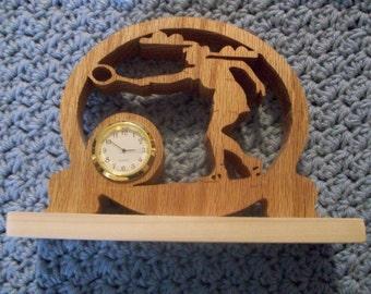 Female Tennis player miniature wooden clock