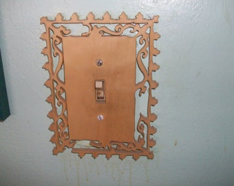 Single wooden switch plate cover