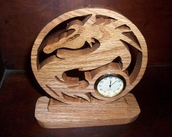 Dragon wood mini desk clock