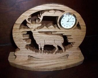 Deer wooden mini desk clock