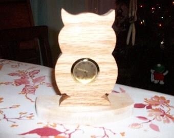 Owl mini wooden desk clock
