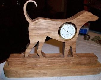Dog miniature wooden desk clock
