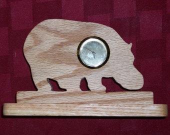 Wooden Hippo mini desk clock