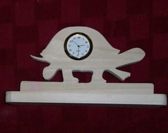 Wooden turtle shaped mini desk clock
