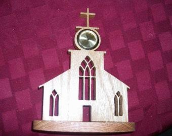 Wooden Church mini desk clock