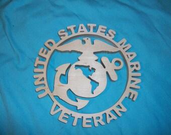 Wooden US marines veteran sign and display