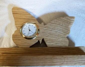 Wooden Butterfly miniature desk clock