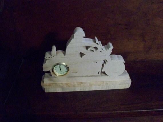 Motorcycle mini wooden desk clock